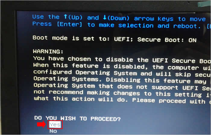 Confirmando os procedimentos para desativar o boot seguro