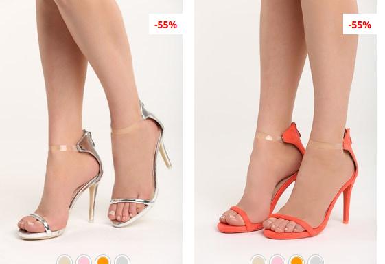 Sandale de ocazii ieftine cu toc inalt elegante argintii, fucsia