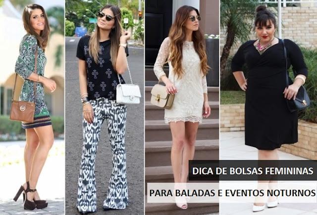 Fashionistas usando looks noturnos com bolsas femininas.