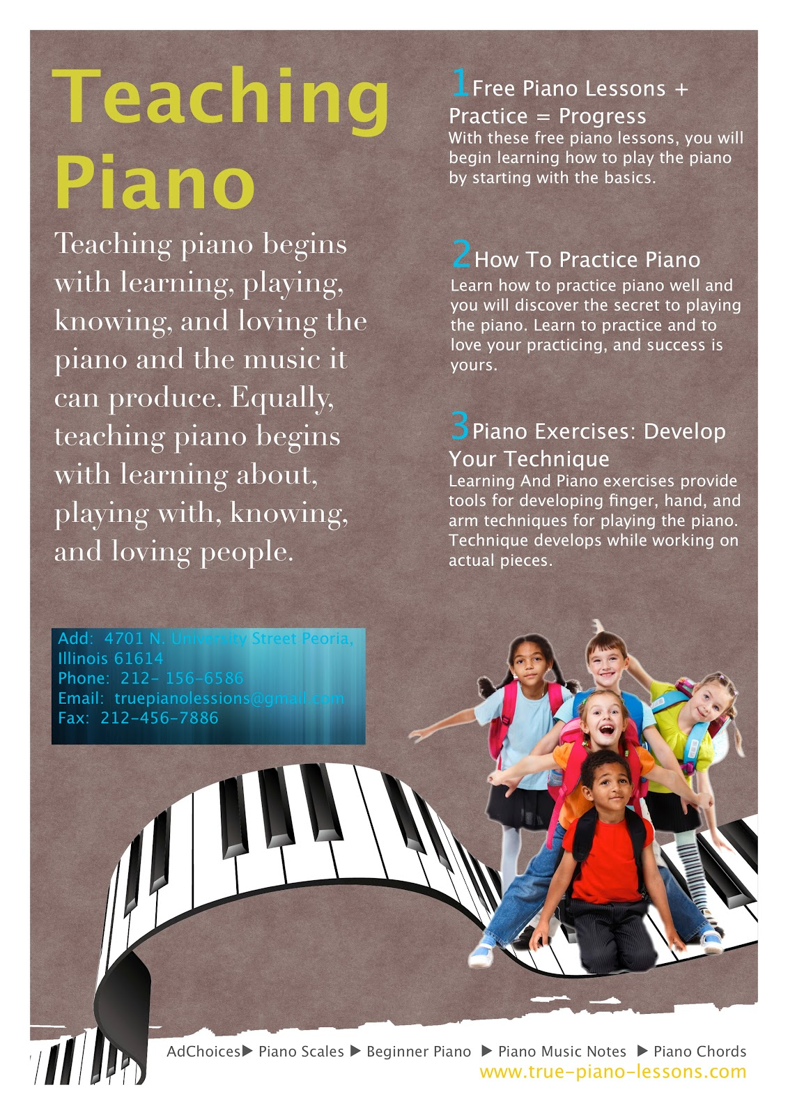 Publisher Plus Example: Piano Lessons