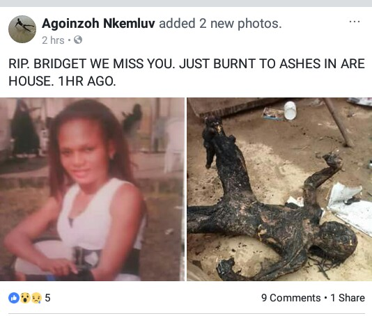 Graphic: Young lady burnt beyond recognition in house fire at Agoloma Town, Delta State