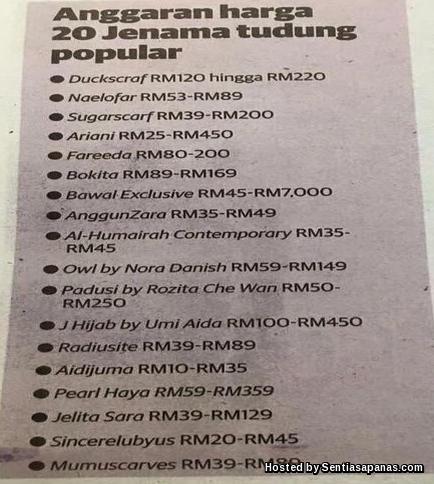 Harga 20 jenama tudung popular di malaysia