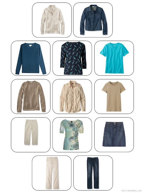 13-piece travel capsule wardrobe in denim, khaki, teal and camel