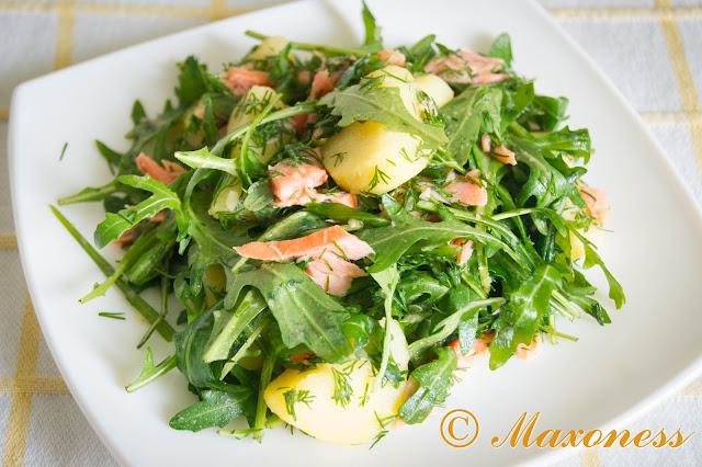Салат из лосося с картошкой