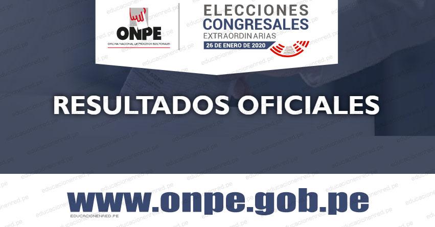 ONPE: Resultado Oficial Elecciones Congresales 2020 (Nuevos Congresistas) www.onpe.gob.pe