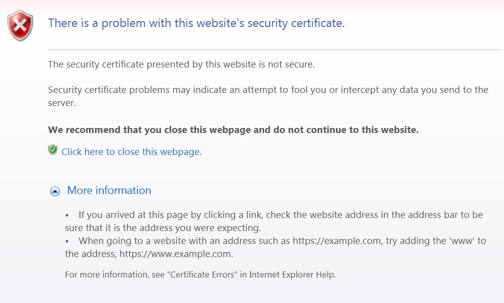 Clint Boessen's Blog: The security certificate presented by