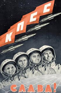 Manifesto della propaganda sovietica: i primi quattro cosmonauti del programma spaziale Vostok