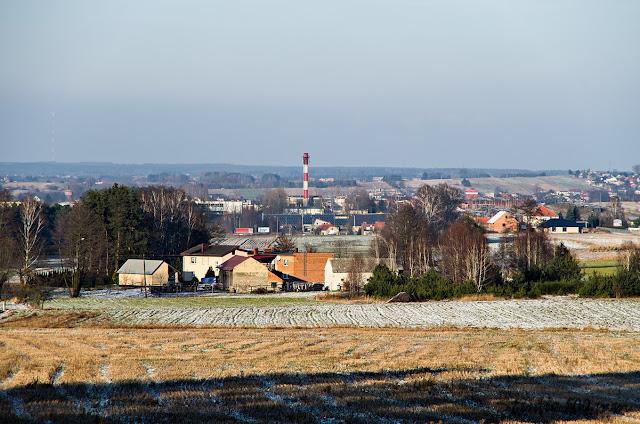 Widok na Olszynę i Ostrzeszów z okolicy wzgórza Bełczyna (Bałczyna)