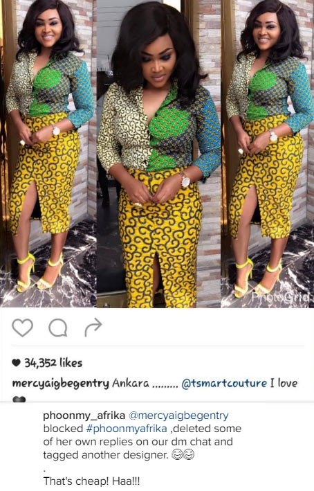 Fashion designer blasts Mercy Aigbe for wearing her clothes