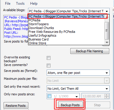 backup your blogger post tutorial