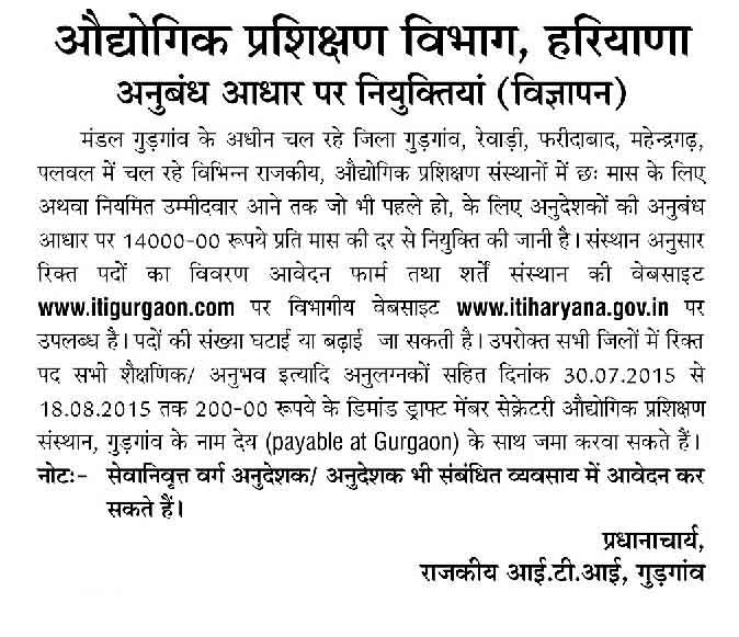 ITI Gurgaon Recruitment 2015