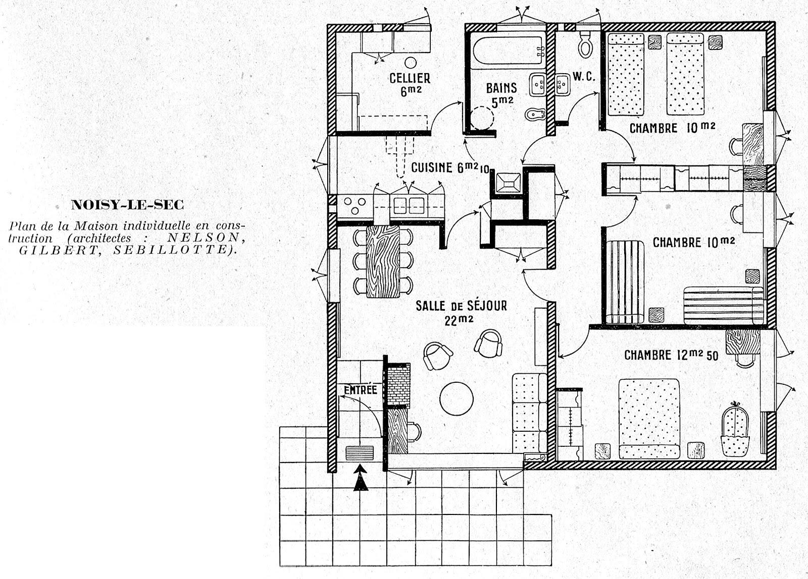 plan maison trois chambres. Black Bedroom Furniture Sets. Home Design Ideas