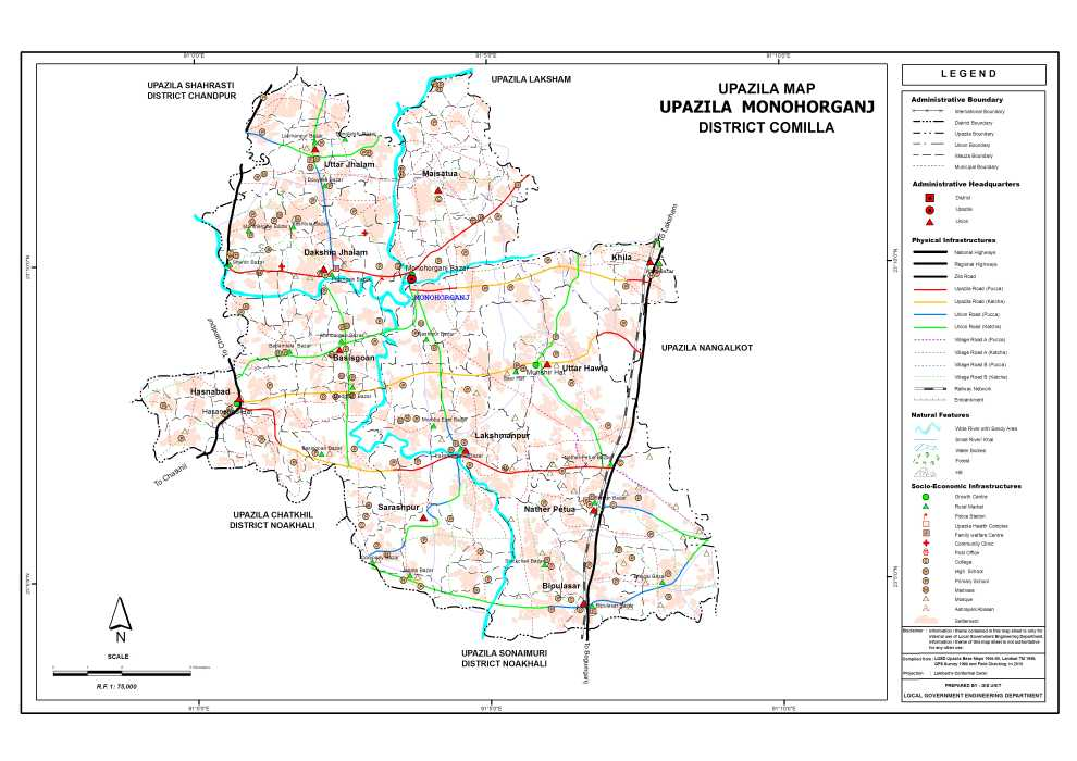Monoharganj Upazila Map Comilla District Bangladesh