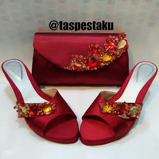 Merah Maroon Sandal Pesta Tas Pesta Cantiik Unik Mewah