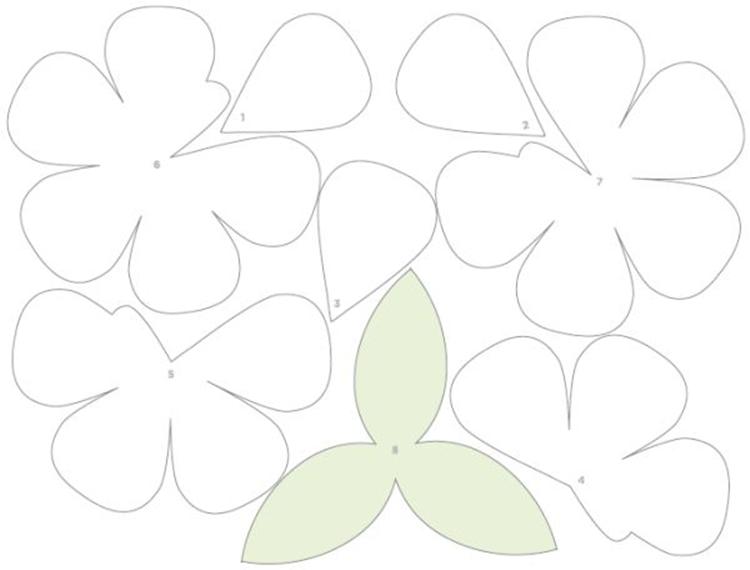 molde das Flores de Papel