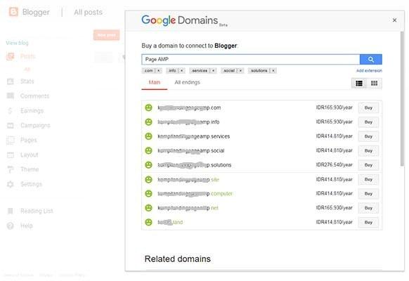 Daftar nama domain dan harga di Google Domains