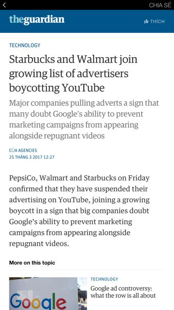 Các đại gia thế giới đang tẩy chay quảng cáo trên YouTube