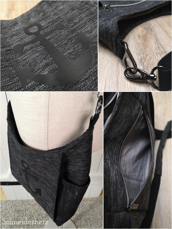 Detail Tasche Dany Anker Plottmotiv und Metallteile