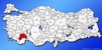 Burdur ilinin Türkiye haritasında gösterimi