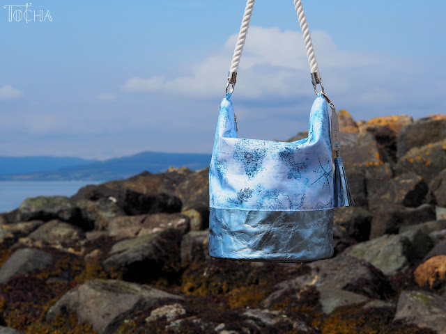 bucket bag, hobo bag, map, sailor, rope, nautical, Washpapa, Largs, adventure, voyage, Largs, Scotland, waterproof polyester,  Vegan bag, sea side, bag charms, rope handles,