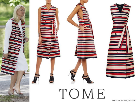 Crown Princess Mette-Marit wore TOME Satin Stripe Sleeveless Trench Coat