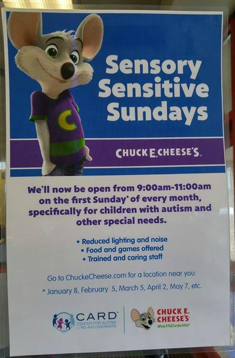 chuck e cheese autism