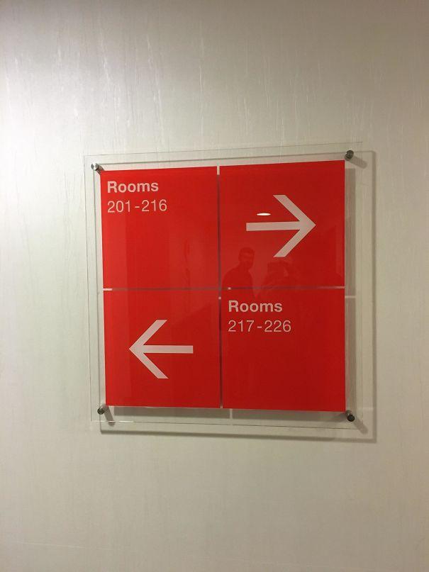 Poor design hotel room sign