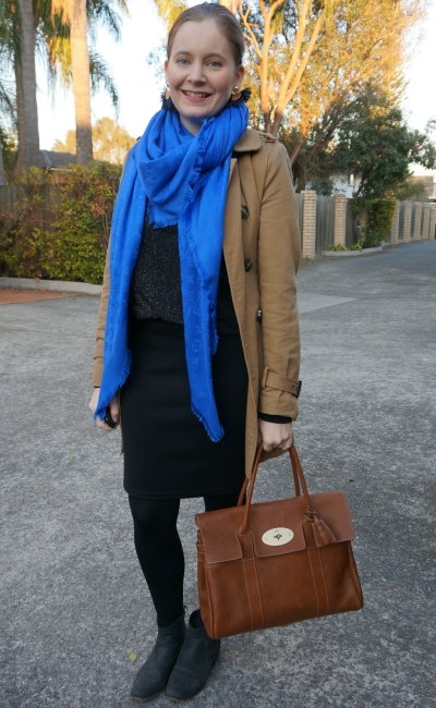 monochrome black winter pencil skirt outfit with cobalt louis vuitton shawl mulberry bays | away from blue