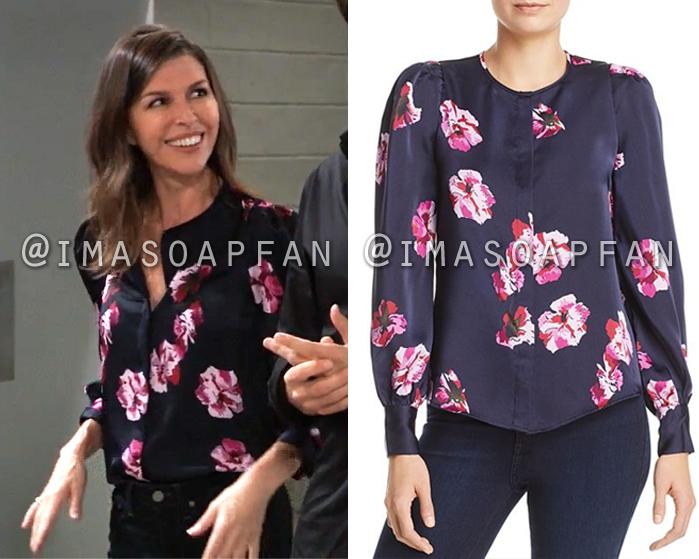 Anna Devane, Finola Hughes, Midnight Blue and Pink Floral Print Blouse, General Hospital, GH