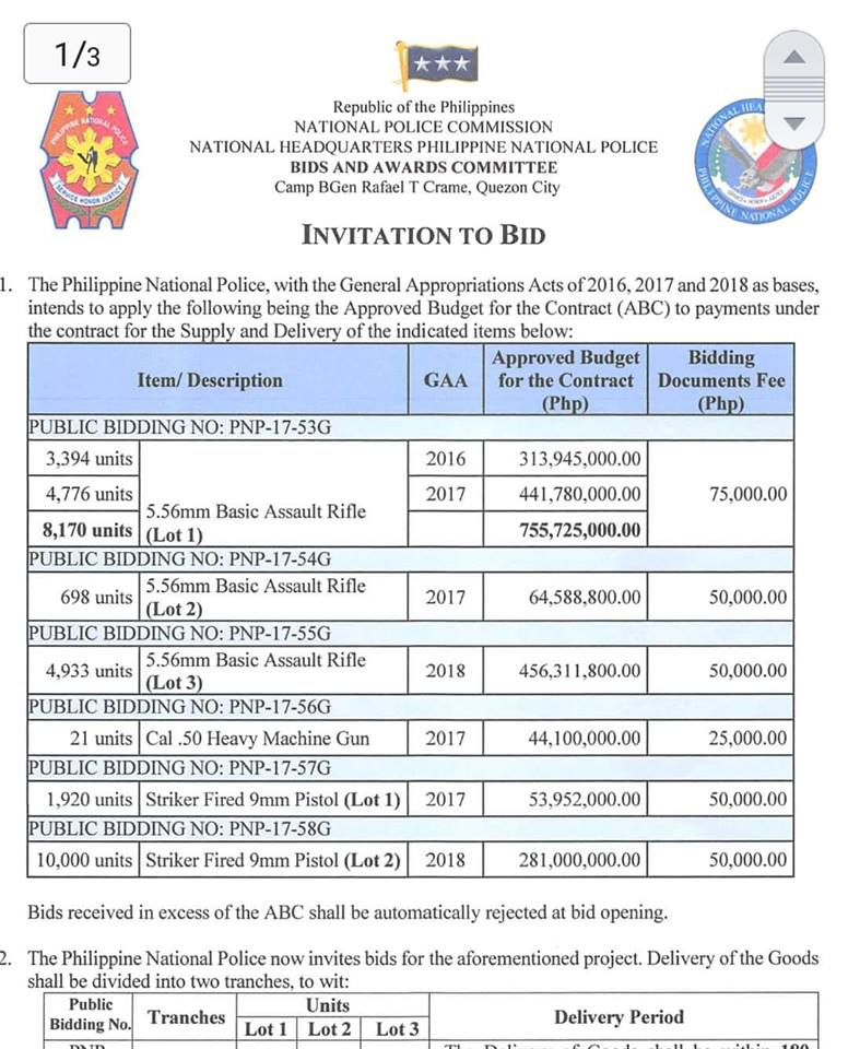 The Copy Of Itb Sent Out By Pnp For 9mm Striker Fired Pistol And 5 56mm Basic Assault Projects Taken From Website
