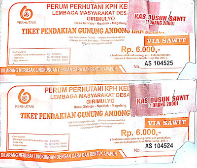 Tiket Masuk dan Parkir Kendaraan Pendakian Gunung Andong Jawa Tengah Tiket Masuk dan Parkir Kendaraan Pendakian Gunung Andong Jawa Tengah