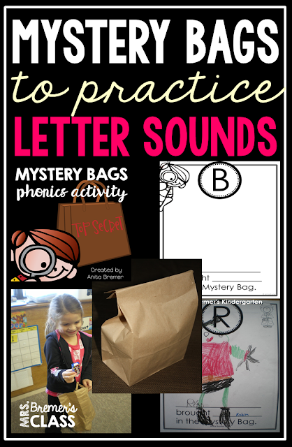 Mystery Bags letter sounds whole class activity for Kindergarten