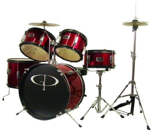 GP Percussion GP55WR 5-Piece Junior Drum Set With Cymbals And Throne In Metallic Wine Red