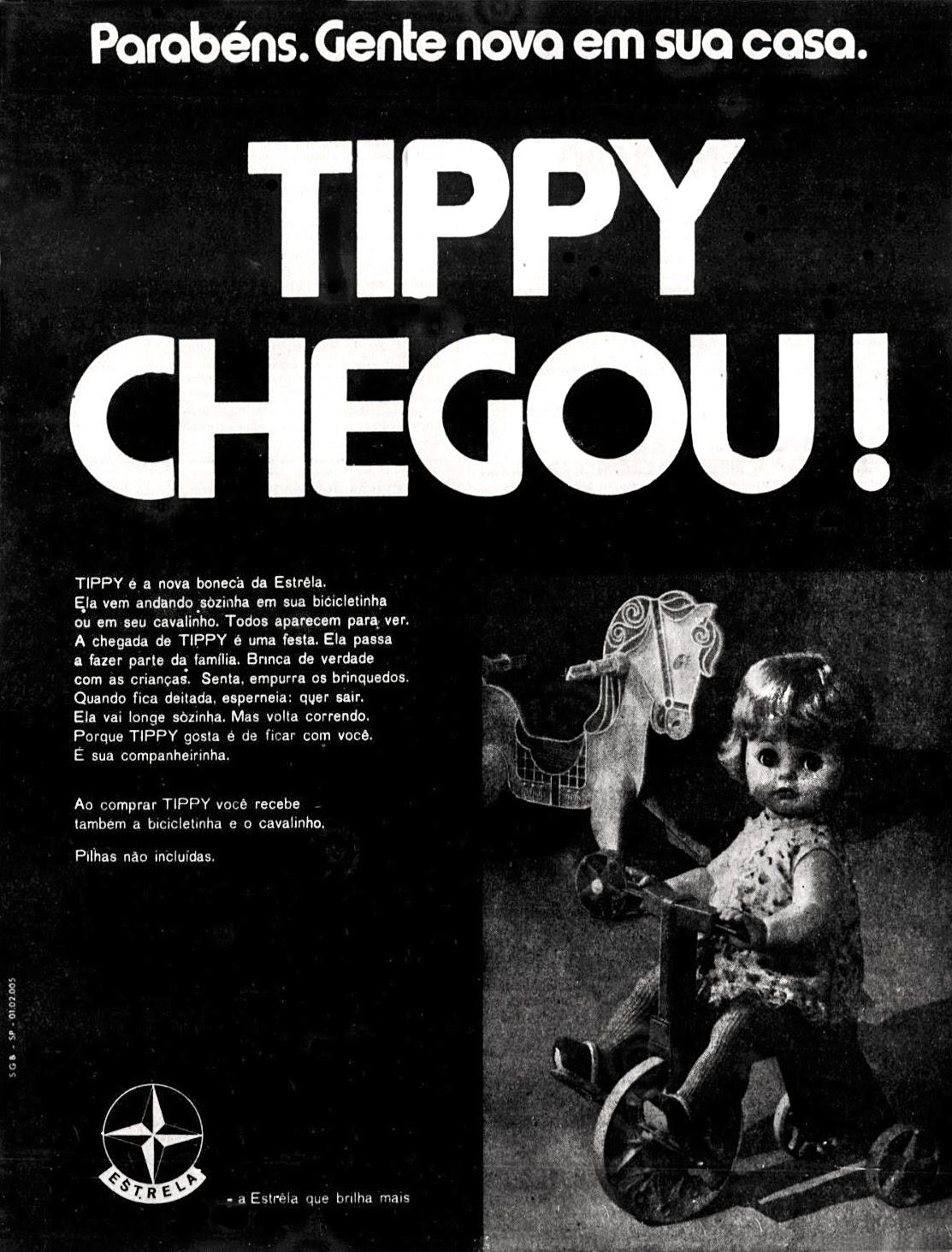 Propaganda antiga da Boneca Tippy da Estrela veiculada em 1970