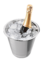 Balde de gelo com champanhe