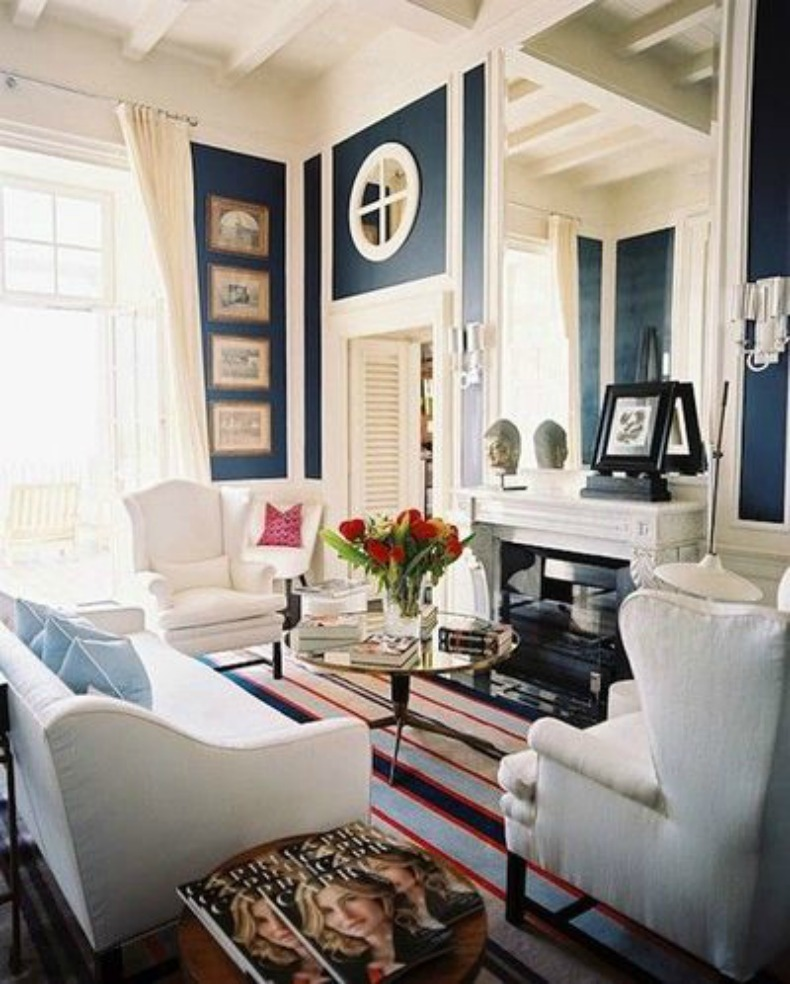 coastal, nautical room, white slipcover sofa and chairs, navy and white