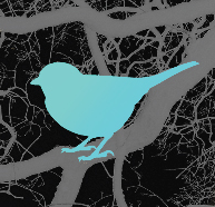 blue bird on tangled grey background. excerpt of an illustration by Brian Liu, from cover page for Winter 2016 issue of Regent College's the Regent World digital magazine