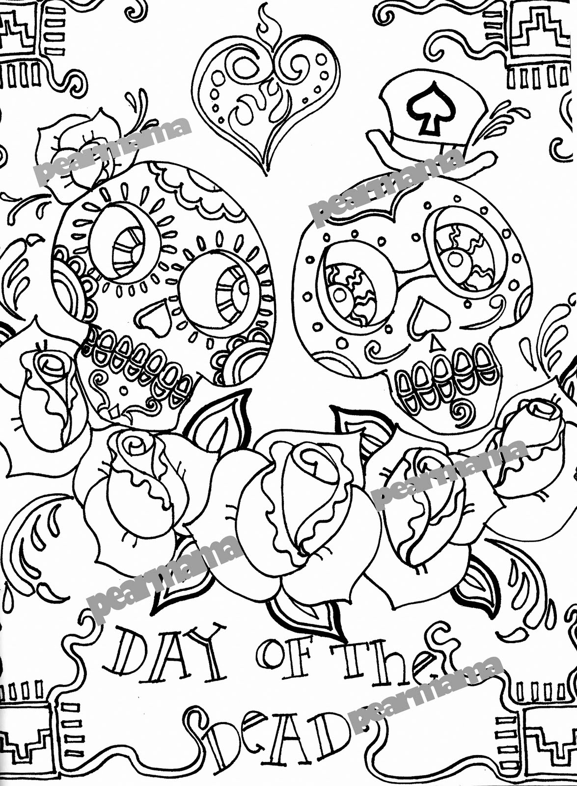 Day of the dead lesson plan with printables modern art 4 for Day of the dead color pages