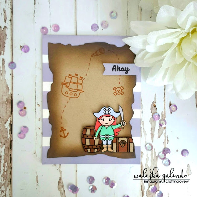 Sunny Studio Stamps: Pirate Pals Girl Pirate Card by Waleska Galindo