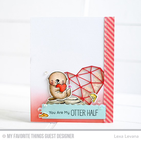 Handmade card from Lexa Levana featuring Birdie Brown Otterly Love You stamp set and Die-namics and Abstract Heart and Homespun Stitch Lines Die-namics #mftstamps