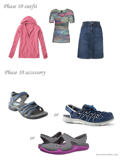 cashmere hoodie, print tee and denim skirt with a choice of water sandals