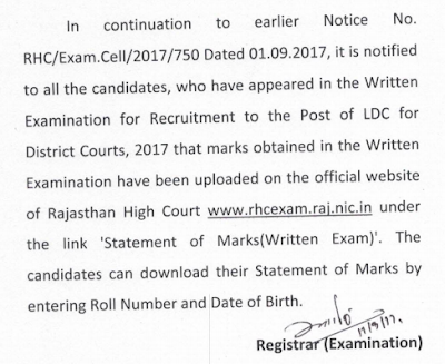 Rajasthan High Court LDC 2017 Exam Marks Declared
