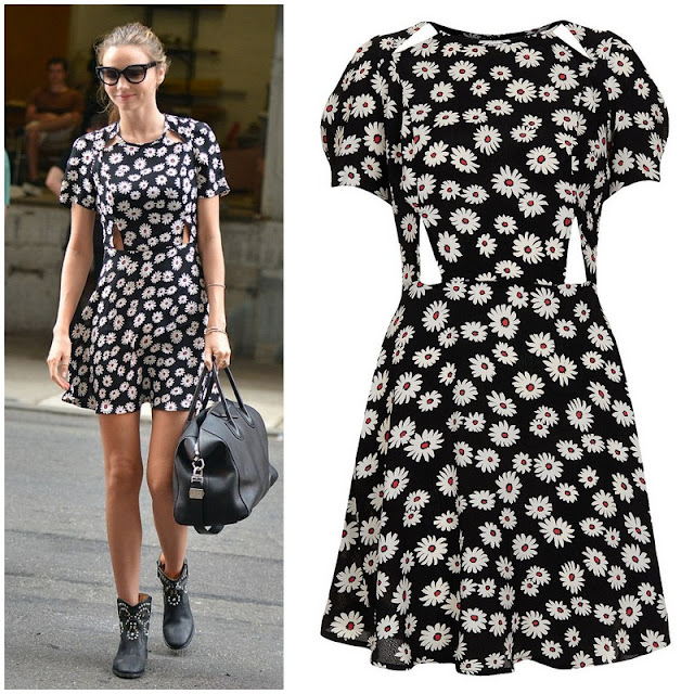 Miranda Kerr 's Topshop Daisy Print Cutout Dress - Out in New York City
