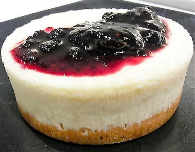 Mini Cheesecake, Ginger crust, Bluebarry jam, Recipe