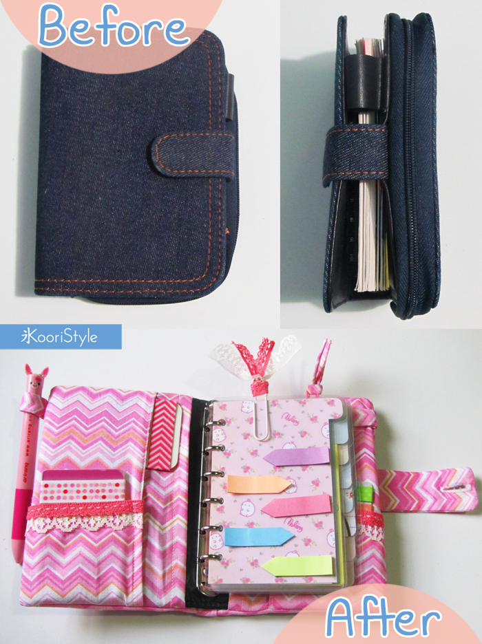 Koori KooriStyle Kawaii Cute Tutorial HowTo Planner Binder Upcycle Recycle Fabric Case Molang