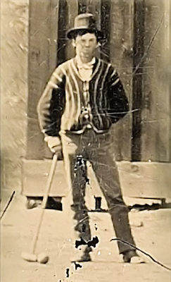 Billy the Kid  (Crpd) Playing  Croquet in Chavez County, New Mexico - Circa 1878