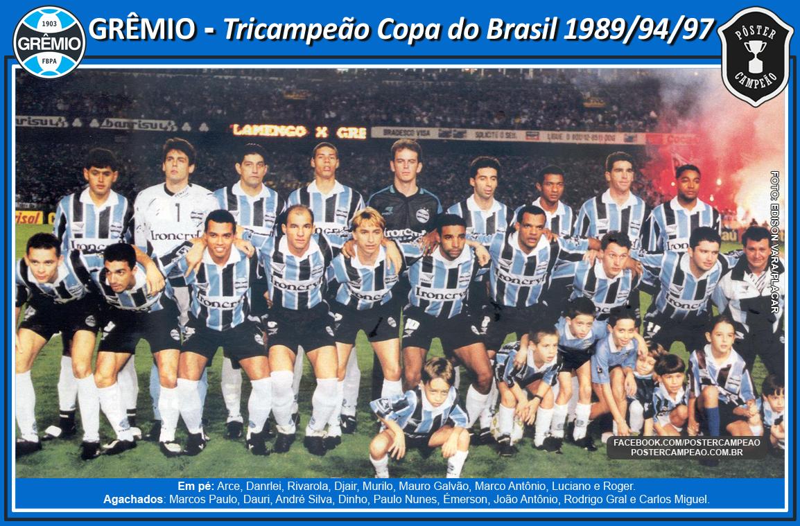 Pôster Campeão  CampHist  Pôster Grêmio Tricampeão Copa do Brasil 1997 0e204d0c132c6