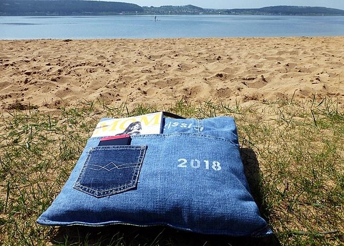 Lesekissen befuellt - am Strand - diy vonKarin
