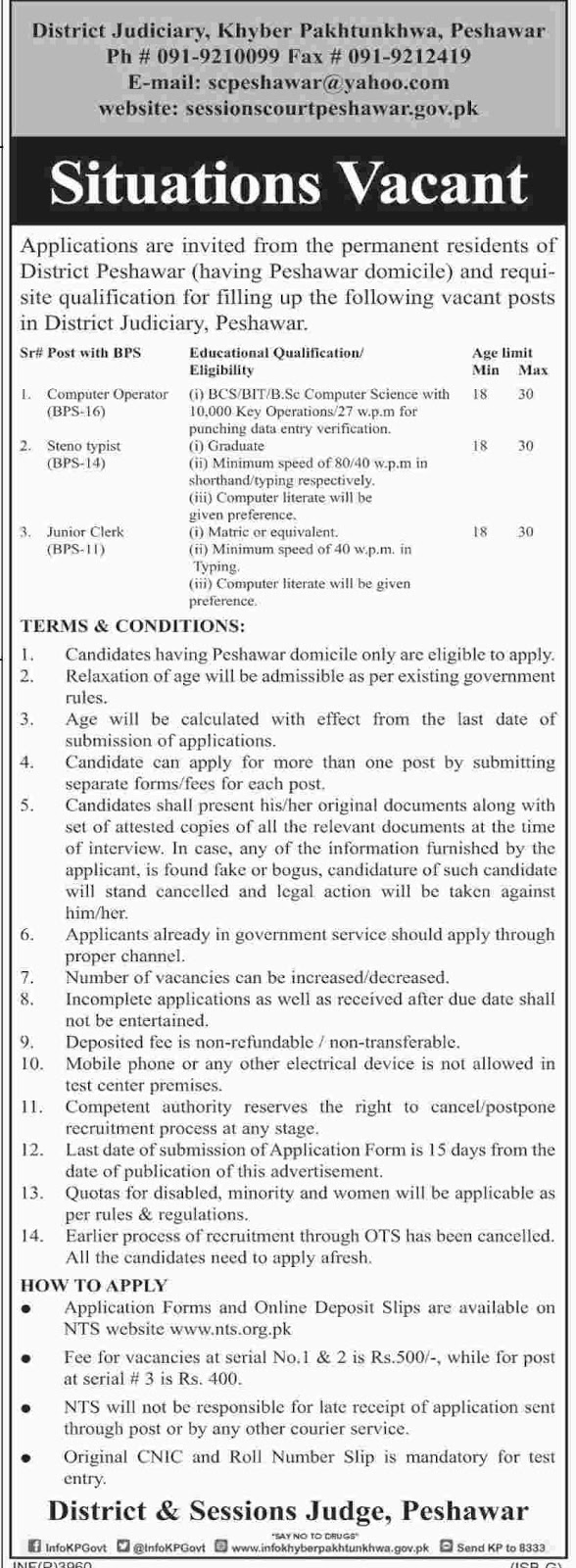 Jobs In District And Sesssion Judge Peshawar Aug 2017