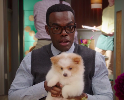 Chidi is sitting in a cafe, with some people in the background, and he's holding a small, very fluffy white and tan puppy.